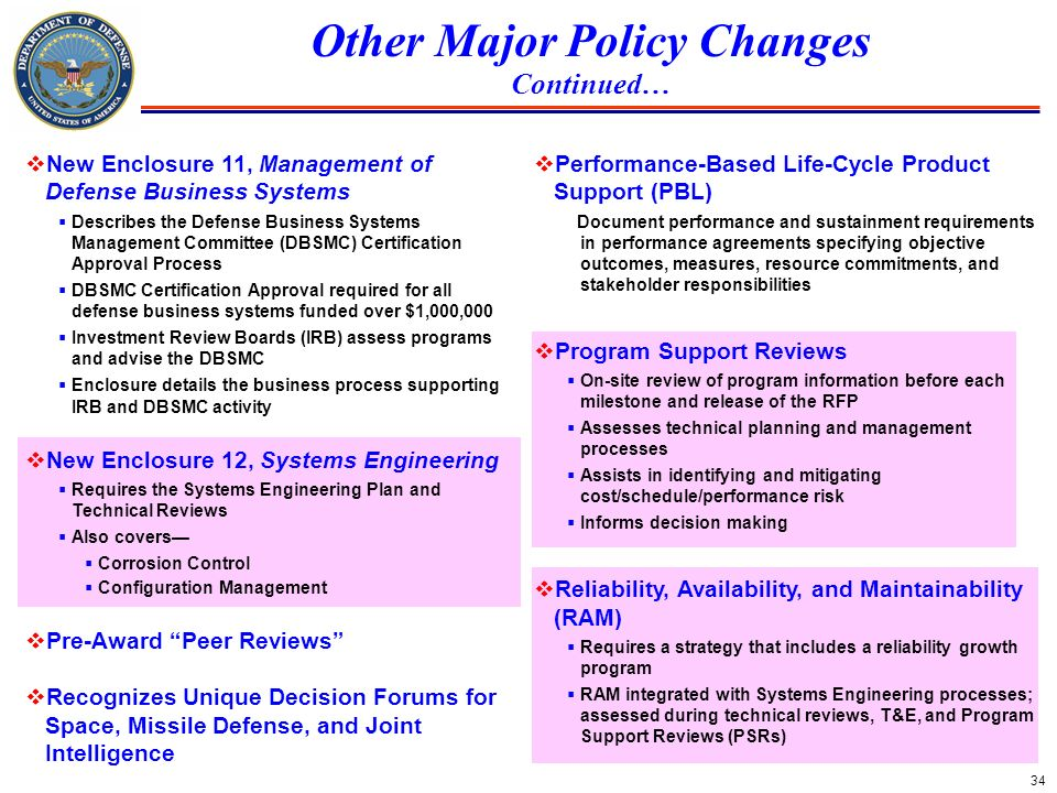 34 Other Major Policy Changes Continued… New Enclosure 11, Management of Defense Business Systems Describes the Defense Business Systems Management Co
