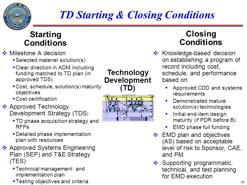 58 TD Starting & Closing Conditions Milestone A decision Selected materiel solution(s) Clear direction in ADM including funding matched to TD plan (in