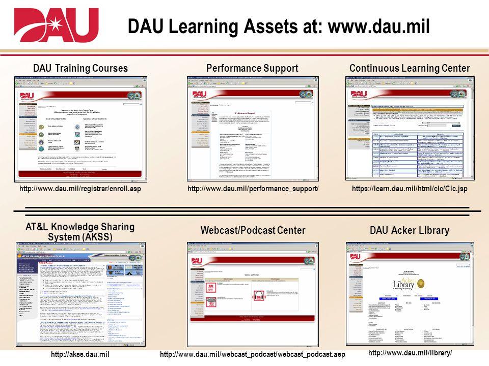 DAU Learning Assets at: www.dau.mil https://learn.dau.mil/html/clc/Clc.jsp http://akss.dau.mil http://www.dau.mil/registrar/enroll.asp Continuous Lear