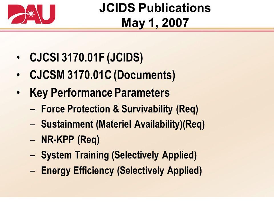 JCIDS Publications May 1, 2007 CJCSI 3170.01F (JCIDS) CJCSM 3170.01C (Documents) Key Performance Parameters – Force Protection & Survivability (Req) –