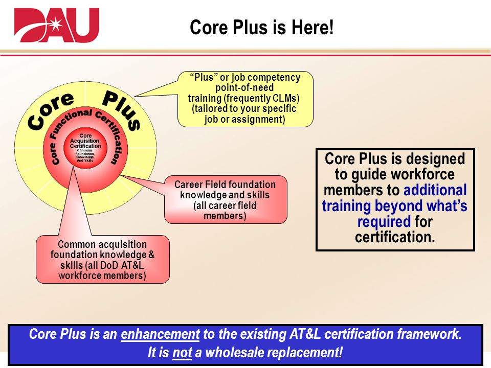 Core Plus is Here! Core Plus is an enhancement to the existing AT&L certification framework. It is not a wholesale replacement! Core Plus is designed