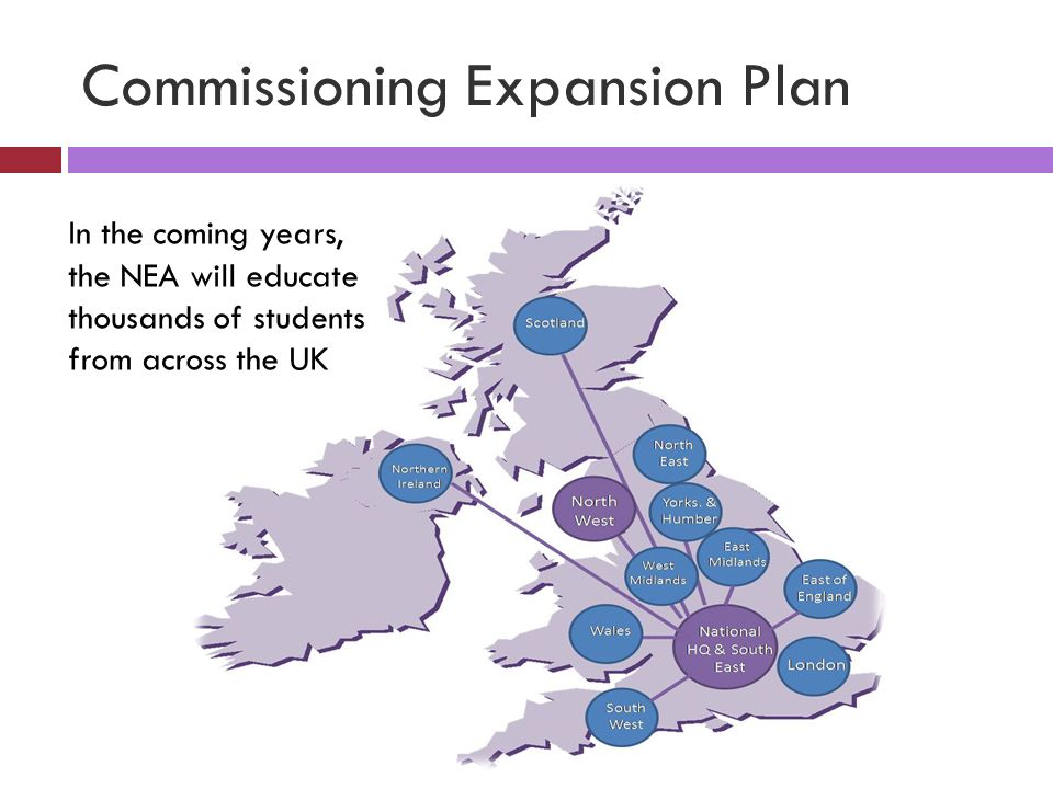 Commissioning Expansion Plan In the coming years, the NEA will educate thousands of students from across the UK