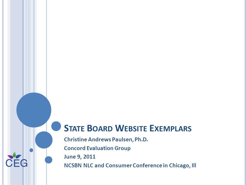S TATE B OARD W EBSITE E XEMPLARS Christine Andrews Paulsen, Ph.D.