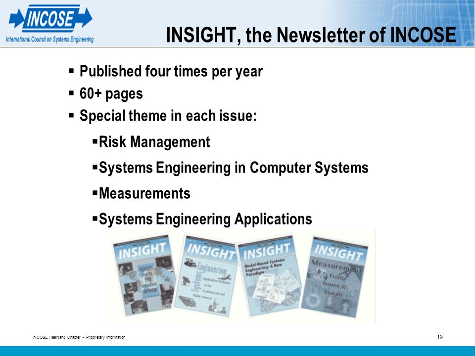 INCOSE Heartland Chapter - Proprietary Information 19 INSIGHT, the Newsletter of INCOSE Published four times per year 60+ pages Special theme in each issue: Risk Management Systems Engineering in Computer Systems Measurements Systems Engineering Applications
