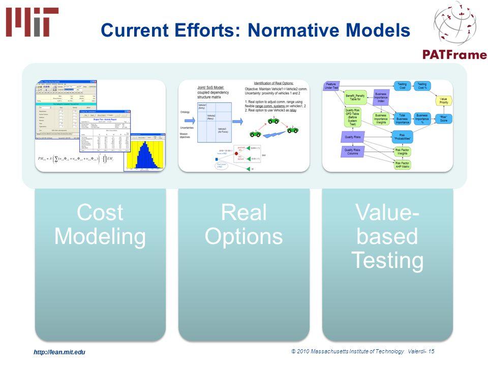 http://lean.mit.edu © 2010 Massachusetts Institute of Technology Valerdi- 15 http://lean.mit.edu Current Efforts: Normative Models Cost Modeling Real Options Value- based Testing