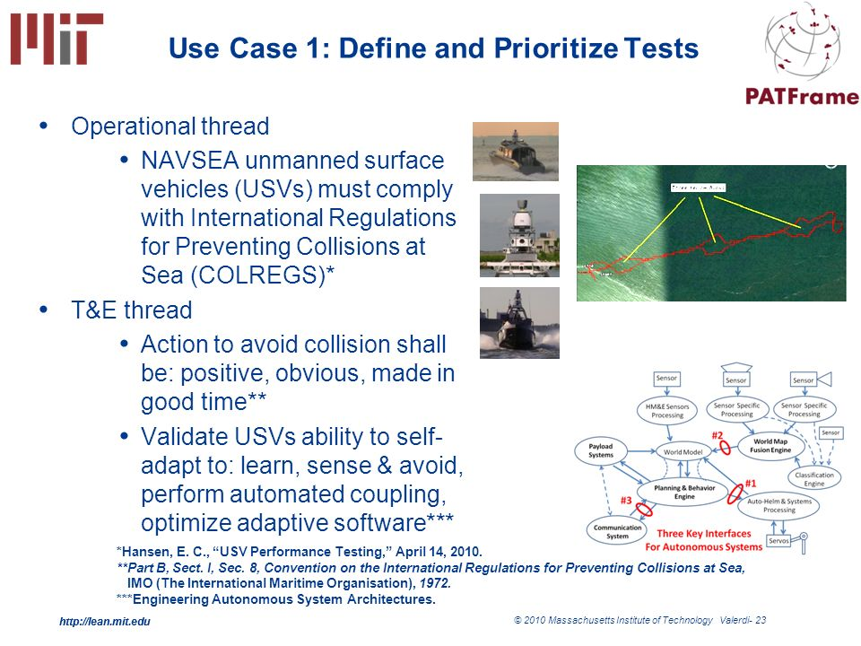http://lean.mit.edu © 2010 Massachusetts Institute of Technology Valerdi- 23 http://lean.mit.edu Use Case 1: Define and Prioritize Tests Operational thread NAVSEA unmanned surface vehicles (USVs) must comply with International Regulations for Preventing Collisions at Sea (COLREGS)* T&E thread Action to avoid collision shall be: positive, obvious, made in good time** Validate USVs ability to self- adapt to: learn, sense & avoid, perform automated coupling, optimize adaptive software*** *Hansen, E.