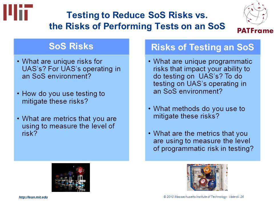 http://lean.mit.edu © 2010 Massachusetts Institute of Technology Valerdi- 26 http://lean.mit.edu Testing to Reduce SoS Risks vs.