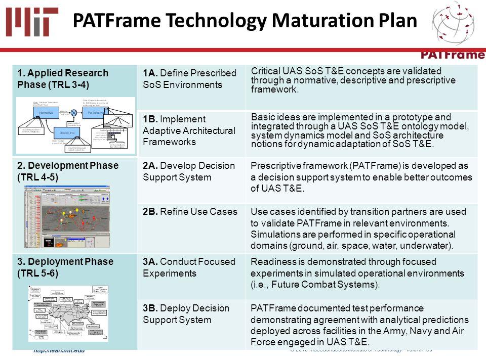 http://lean.mit.edu © 2010 Massachusetts Institute of Technology Valerdi- 30 http://lean.mit.edu PATFrame Technology Maturation Plan 1.