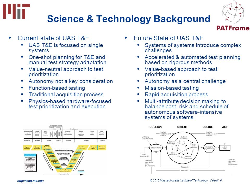 http://lean.mit.edu © 2010 Massachusetts Institute of Technology Valerdi- 6 http://lean.mit.edu Science & Technology Background Current state of UAS T&E UAS T&E is focused on single systems One-shot planning for T&E and manual test strategy adaptation Value-neutral approach to test prioritization Autonomy not a key consideration Function-based testing Traditional acquisition process Physics-based hardware-focused test prioritization and execution Future State of UAS T&E Systems of systems introduce complex challenges Accelerated & automated test planning based on rigorous methods Value-based approach to test prioritization Autonomy as a central challenge Mission-based testing Rapid acquisition process Multi-attribute decision making to balance cost, risk and schedule of autonomous software-intensive systems of systems