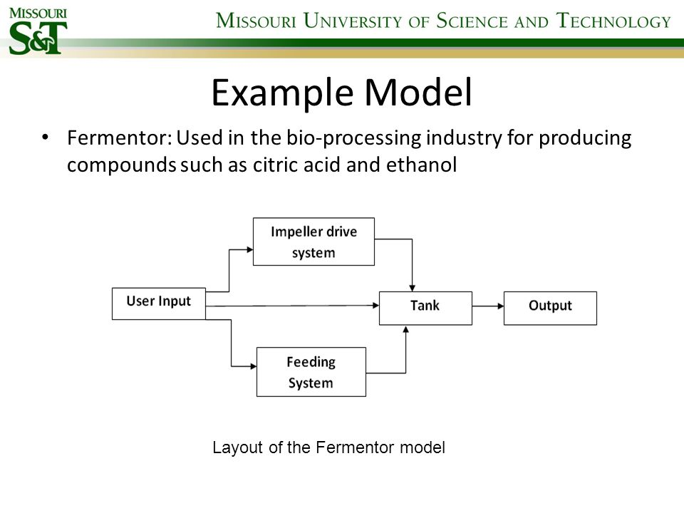 Example Model Fermentor: Used in the bio-processing industry for producing compounds such as citric acid and ethanol Layout of the Fermentor model