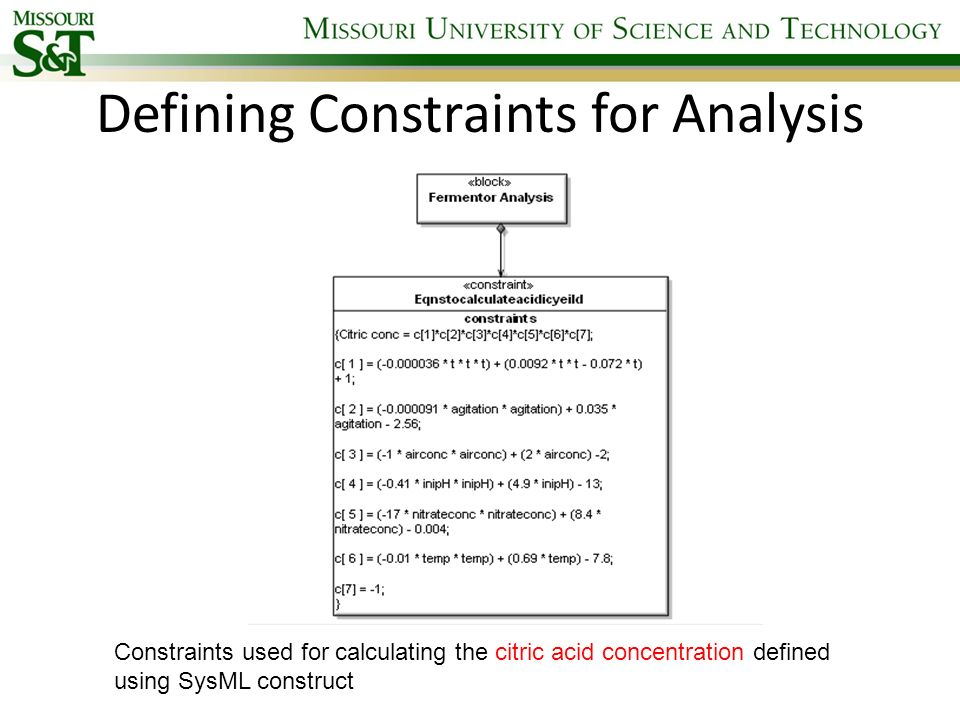 Defining Constraints for Analysis Constraints used for calculating the citric acid concentration defined using SysML construct