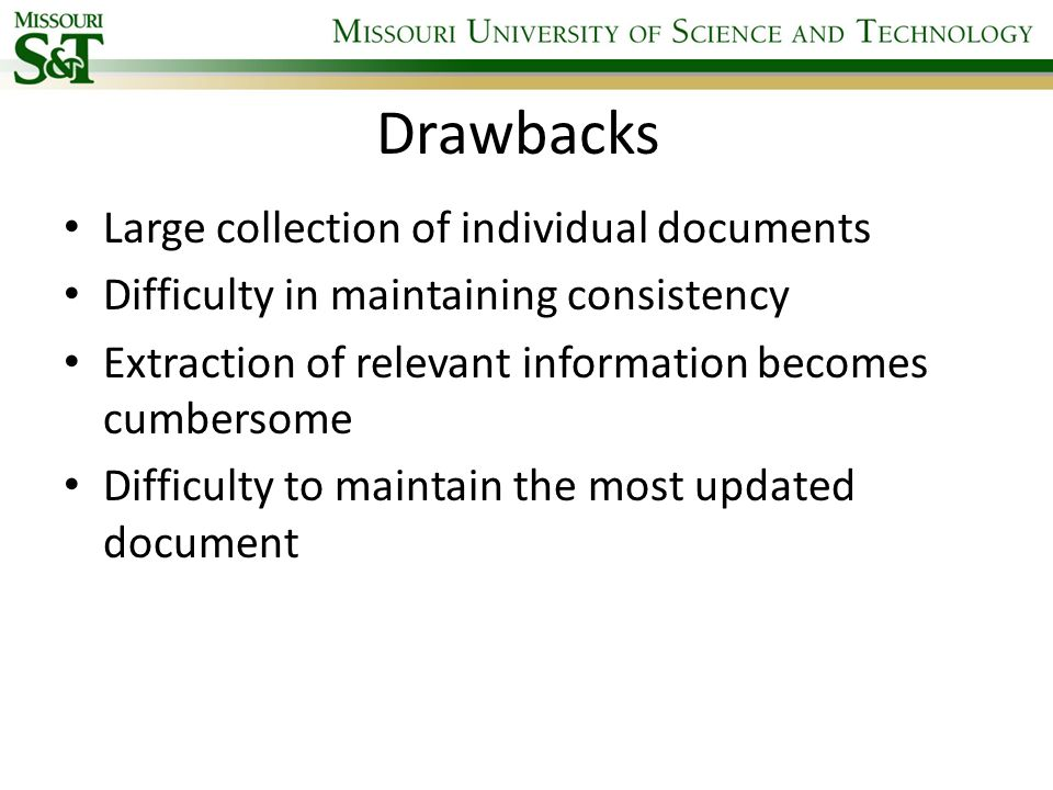 Drawbacks Large collection of individual documents Difficulty in maintaining consistency Extraction of relevant information becomes cumbersome Difficu