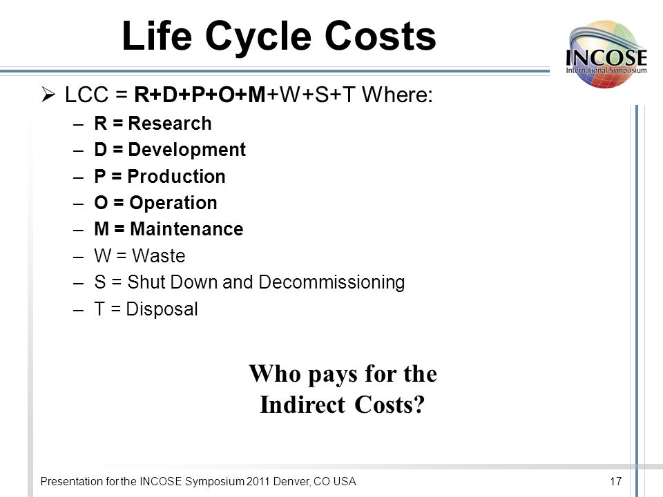 Presentation for the INCOSE Symposium 2011 Denver, CO USA17 Life Cycle Costs LCC = R+D+P+O+M+W+S+T Where: –R = Research –D = Development –P = Producti