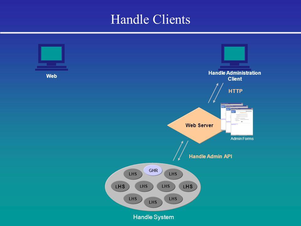 Handle Clients LHS GHR LHS Handle System Web Handle Administration Client Web Server HTTP Handle Admin API Admin Forms
