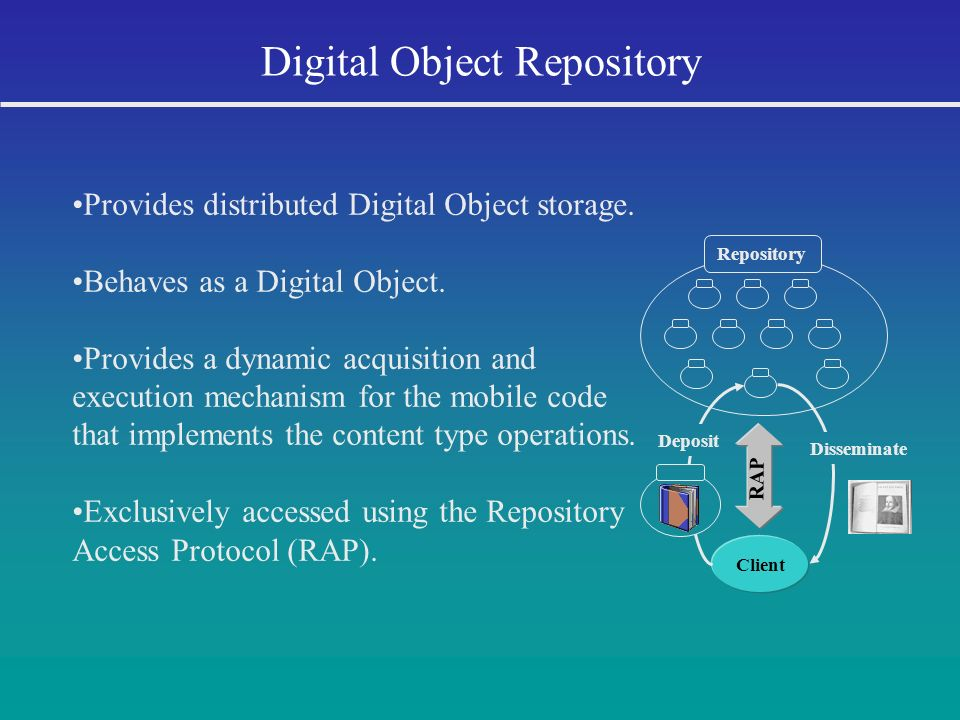 Repository Digital Object Repository RAP Client Provides distributed Digital Object storage. Behaves as a Digital Object. Provides a dynamic acquisiti