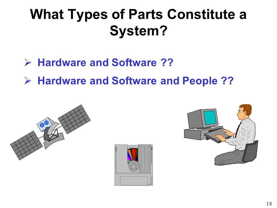 18 What Types of Parts Constitute a System? Hardware and Software ?? Hardware and Software and People ??