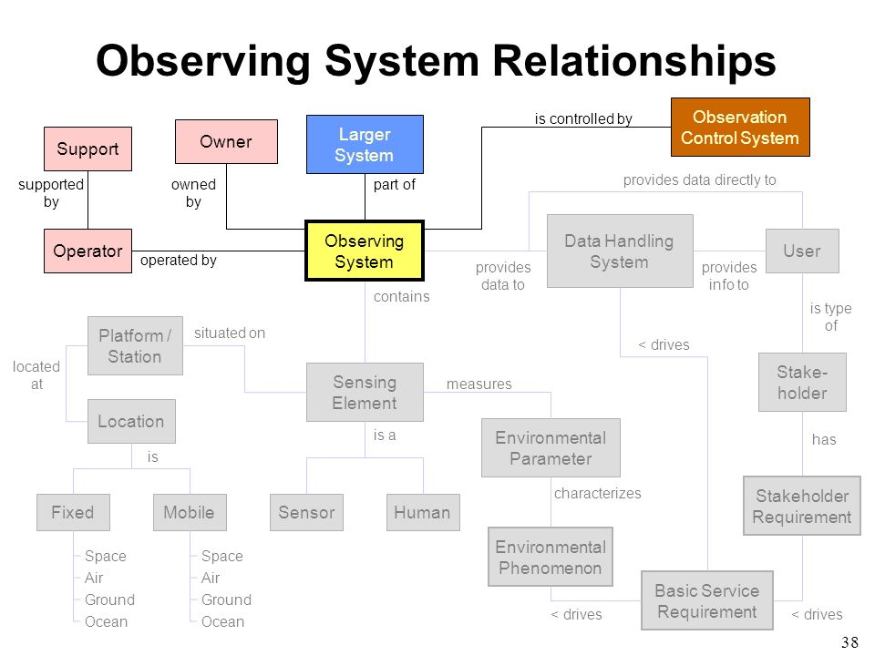 38 Observing System Relationships Larger System Observing System Data Handling System Human Environmental Phenomenon Environmental Parameter Sensing E