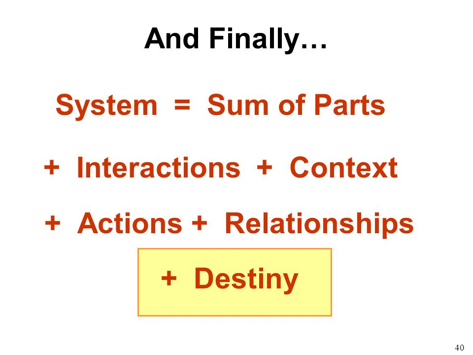 40 System = Sum of Parts + Interactions + Context + Actions + Relationships + Destiny And Finally…