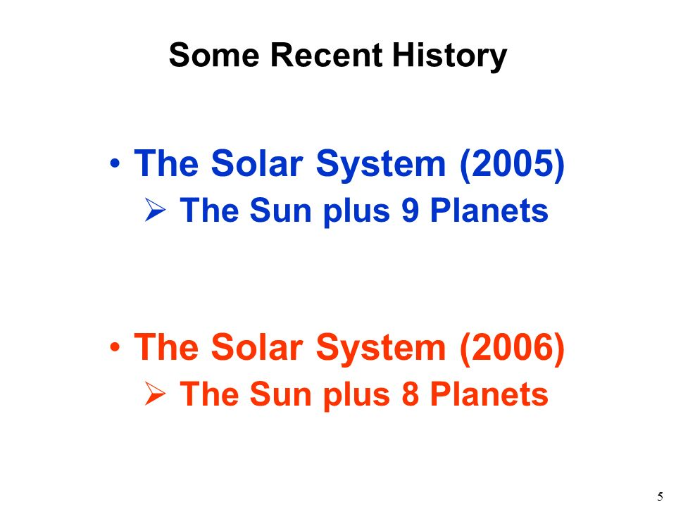 5 Some Recent History The Solar System (2005) The Sun plus 9 Planets The Solar System (2006) The Sun plus 8 Planets
