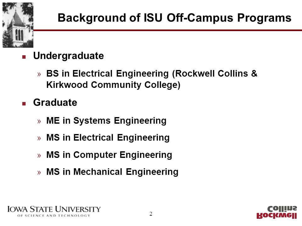 2 Background of ISU Off-Campus Programs n Undergraduate » BS in Electrical Engineering (Rockwell Collins & Kirkwood Community College) n Graduate » ME in Systems Engineering » MS in Electrical Engineering » MS in Computer Engineering » MS in Mechanical Engineering