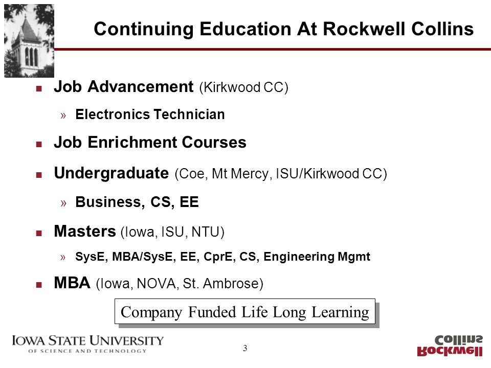 14 Future Plans n Continued Growth of Present Program » Students » Course Availability » Faculty Involvement n Development of Dual Executive Masters Program » Initiated by Rockwell Collins » Iowa and Iowa State » Combined Systems Engineering/MBA » 60 Hour Program, Dual Degree