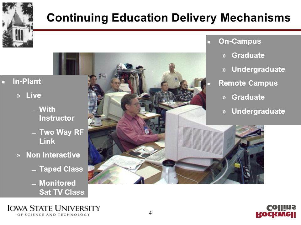 4 Continuing Education Delivery Mechanisms n In-Plant » Live With Instructor Two Way RF Link » Non Interactive Taped Class Monitored Sat TV Class n On-Campus » Graduate » Undergraduate n Remote Campus » Graduate » Undergraduate