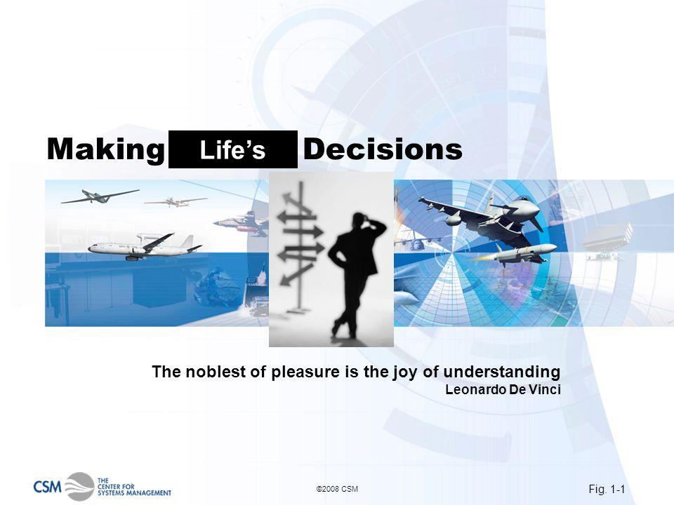 Fig. 1-1 ©2008 CSM Making Project Decisions The noblest of pleasure is the joy of understanding Leonardo De Vinci Lifes