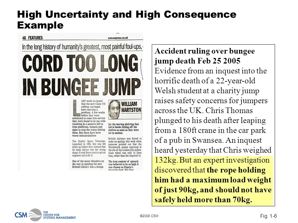 Fig. 1-6 ©2008 CSM High Uncertainty and High Consequence Example Accident ruling over bungee jump death Feb 25 2005 Evidence from an inquest into the