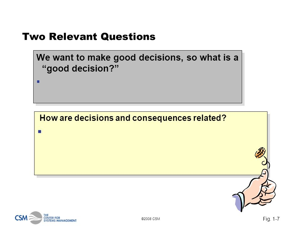 Fig. 1-7 ©2008 CSM Two Relevant Questions We want to make good decisions, so what is a good decision? We want to make good decisions, so what is a goo