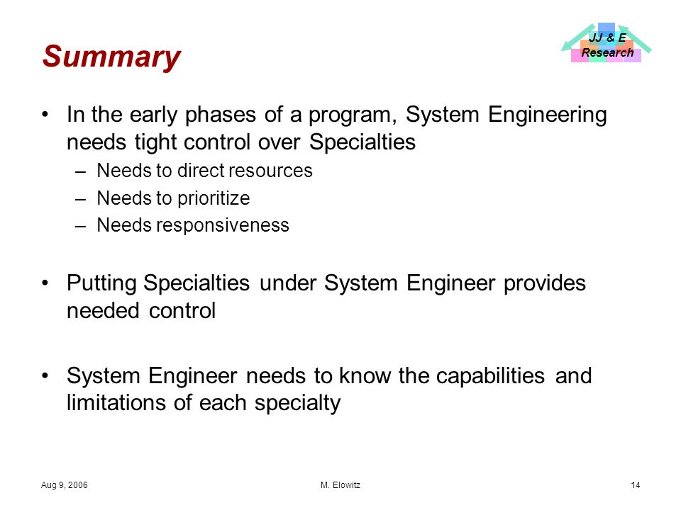 JJ & E Research Aug 9, 2006 M.