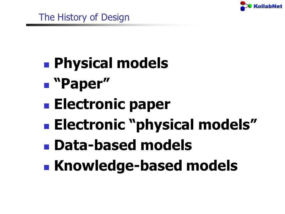 The History of Design Physical models Paper Electronic paper Electronic physical models Data-based models Knowledge-based models