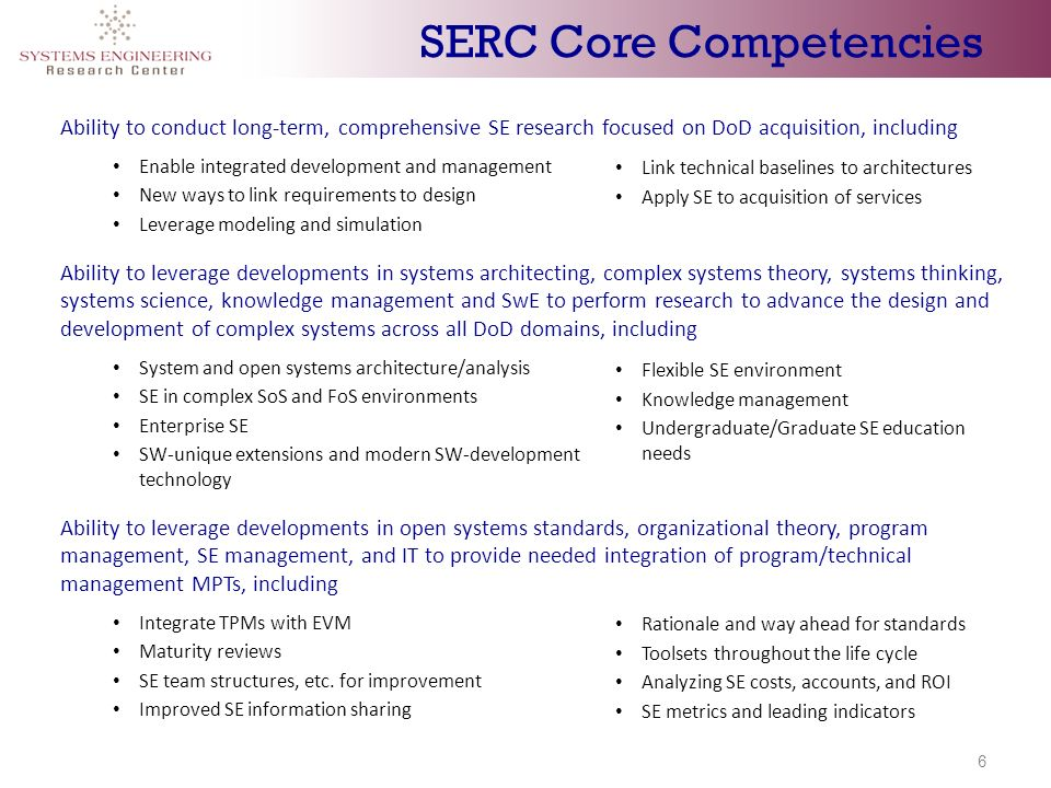 6 Ability to conduct long-term, comprehensive SE research focused on DoD acquisition, including Enable integrated development and management New ways to link requirements to design Leverage modeling and simulation Ability to leverage developments in systems architecting, complex systems theory, systems thinking, systems science, knowledge management and SwE to perform research to advance the design and development of complex systems across all DoD domains, including System and open systems architecture/analysis SE in complex SoS and FoS environments Enterprise SE SW-unique extensions and modern SW-development technology Ability to leverage developments in open systems standards, organizational theory, program management, SE management, and IT to provide needed integration of program/technical management MPTs, including Integrate TPMs with EVM Maturity reviews SE team structures, etc.