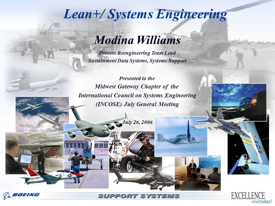 LOGISTICS SUPPORT Lean+/ Systems Engineering Modina Williams Process Reengineering Team Lead Sustainment Data Systems, Systems Support Presented to th
