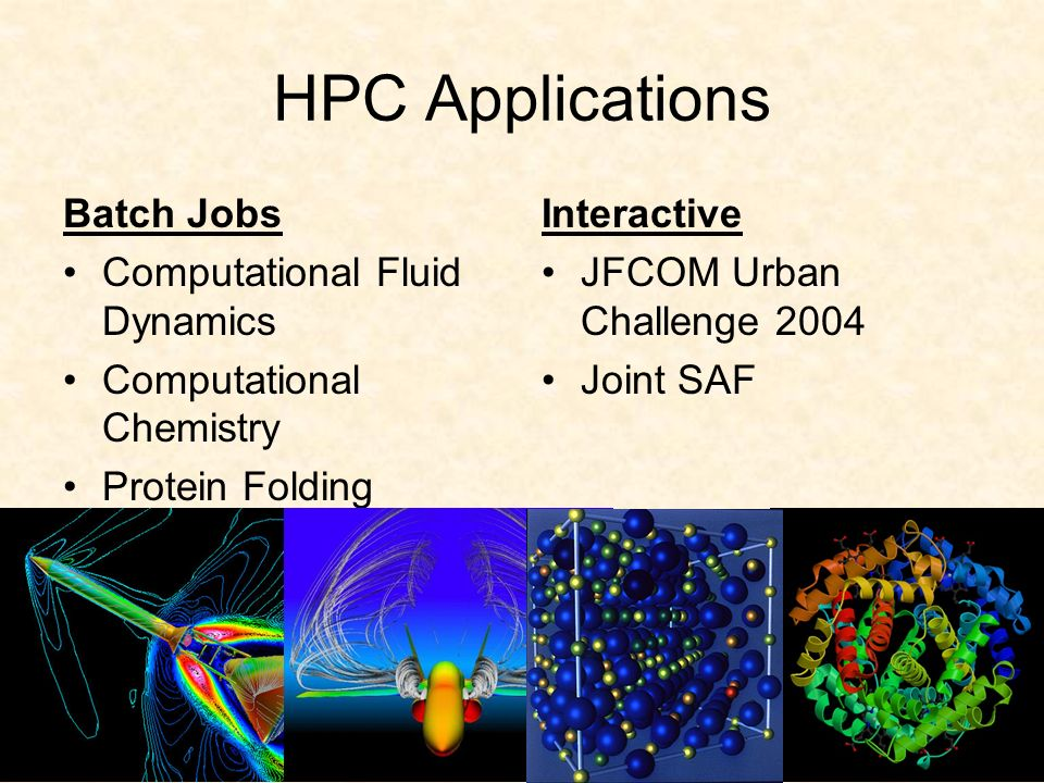HPC Applications Batch Jobs Computational Fluid Dynamics Computational Chemistry Protein Folding Cryptanalysis Interactive JFCOM Urban Challenge 2004 Joint SAF