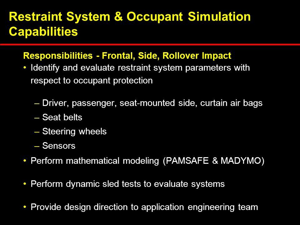 Restraint System & Occupant Simulation Capabilities Identify and evaluate restraint system parameters with respect to occupant protection –Driver, passenger, seat-mounted side, curtain air bags –Seat belts –Steering wheels –Sensors Perform mathematical modeling (PAMSAFE & MADYMO) Perform dynamic sled tests to evaluate systems Provide design direction to application engineering team Responsibilities - Frontal, Side, Rollover Impact
