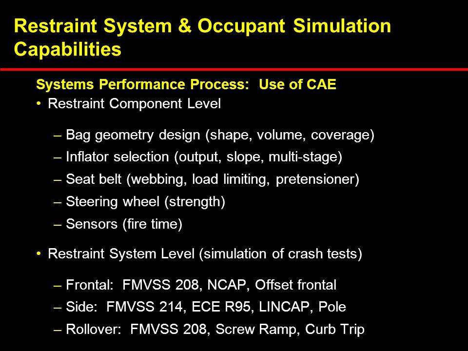Restraint System & Occupant Simulation Capabilities Restraint Component Level –Bag geometry design (shape, volume, coverage) –Inflator selection (outp
