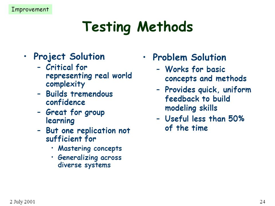 2 July 200124 Testing Methods Project Solution –Critical for representing real world complexity –Builds tremendous confidence –Great for group learning –But one replication not sufficient for Mastering concepts Generalizing across diverse systems Problem Solution –Works for basic concepts and methods –Provides quick, uniform feedback to build modeling skills –Useful less than 50% of the time Improvement