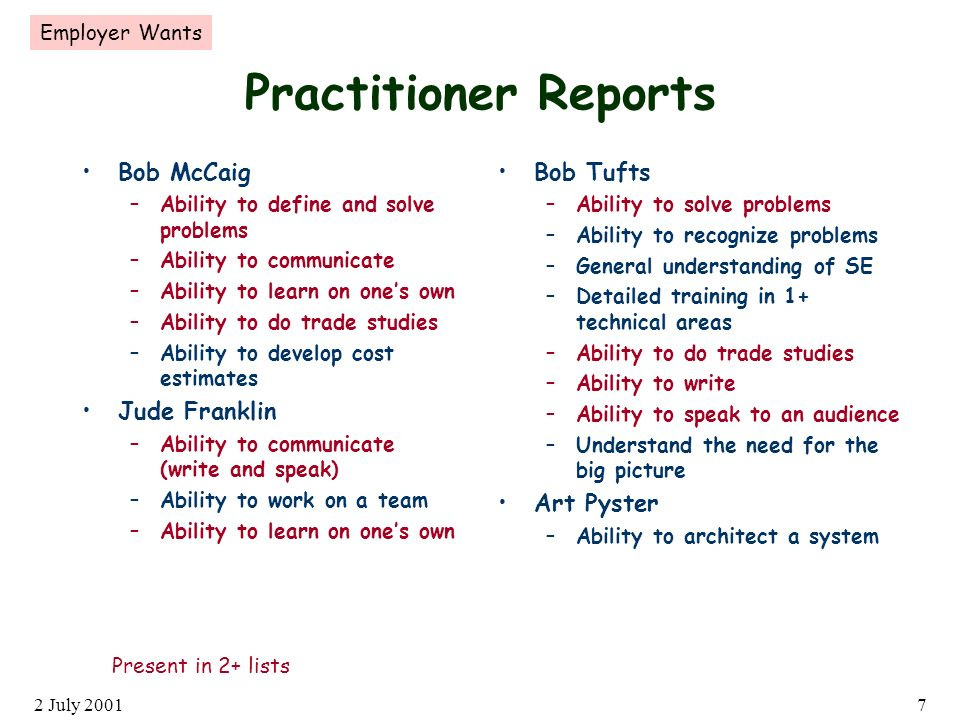 2 July 20017 Practitioner Reports Bob McCaig –Ability to define and solve problems –Ability to communicate –Ability to learn on ones own –Ability to do trade studies –Ability to develop cost estimates Jude Franklin –Ability to communicate (write and speak) –Ability to work on a team –Ability to learn on ones own Bob Tufts –Ability to solve problems –Ability to recognize problems –General understanding of SE –Detailed training in 1+ technical areas –Ability to do trade studies –Ability to write –Ability to speak to an audience –Understand the need for the big picture Art Pyster –Ability to architect a system Present in 2+ lists Employer Wants