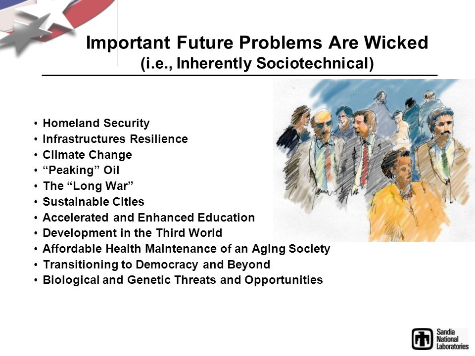 Important Future Problems Are Wicked (i.e., Inherently Sociotechnical) Homeland Security Infrastructures Resilience Climate Change Peaking Oil The Lon