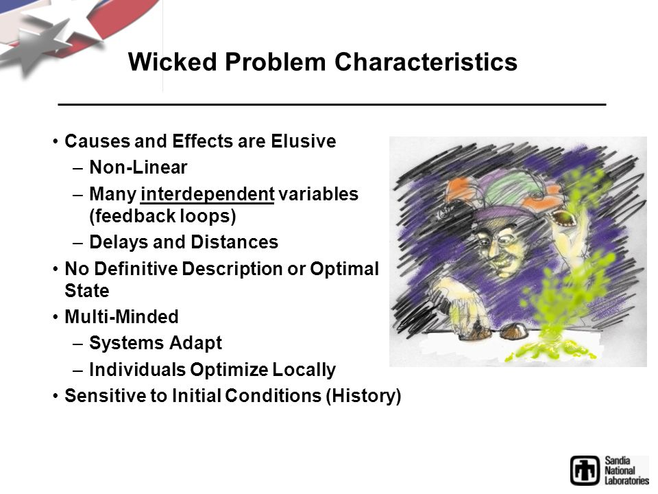 Wicked Problem Characteristics Causes and Effects are Elusive –Non-Linear –Many interdependent variables (feedback loops) –Delays and Distances No Def