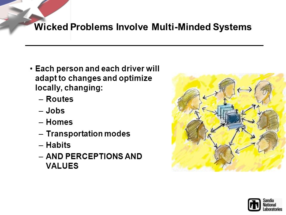 Wicked Problems Involve Multi-Minded Systems Each person and each driver will adapt to changes and optimize locally, changing: –Routes –Jobs –Homes –T