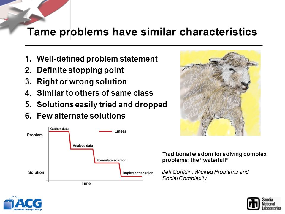 Tame problems have similar characteristics 1.Well-defined problem statement 2.Definite stopping point 3.Right or wrong solution 4.Similar to others of