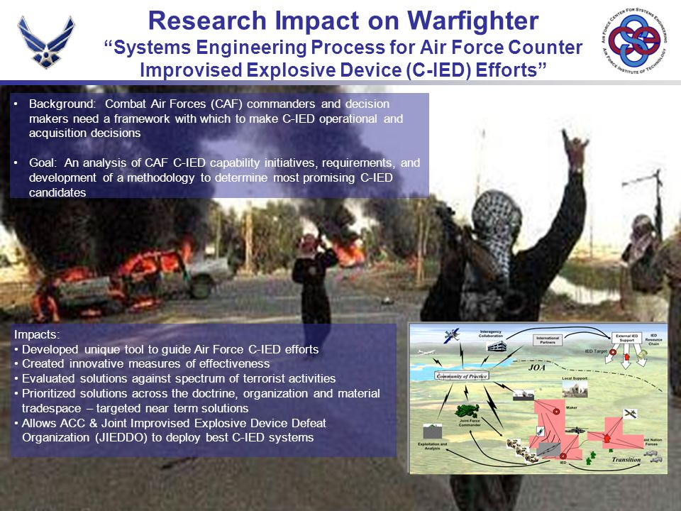 Research Impact on Warfighter Systems Engineering Process for Air Force Counter Improvised Explosive Device (C-IED) Efforts Background: Combat Air Forces (CAF) commanders and decision makers need a framework with which to make C-IED operational and acquisition decisions Goal: An analysis of CAF C-IED capability initiatives, requirements, and development of a methodology to determine most promising C-IED candidates Impacts: Developed unique tool to guide Air Force C-IED efforts Created innovative measures of effectiveness Evaluated solutions against spectrum of terrorist activities Prioritized solutions across the doctrine, organization and material tradespace – targeted near term solutions Allows ACC & Joint Improvised Explosive Device Defeat Organization (JIEDDO) to deploy best C-IED systems