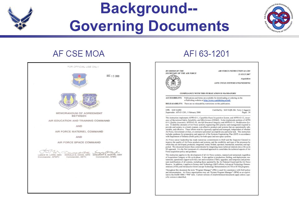 Background-- Governing Documents AF CSE MOAAFI 63-1201