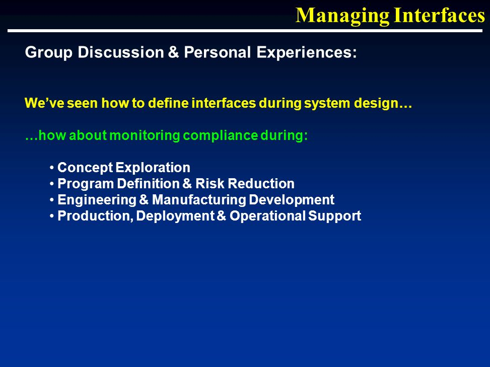 Weve seen how to define interfaces during system design… …how about monitoring compliance during: Concept Exploration Program Definition & Risk Reduction Engineering & Manufacturing Development Production, Deployment & Operational Support Managing Interfaces Group Discussion & Personal Experiences: