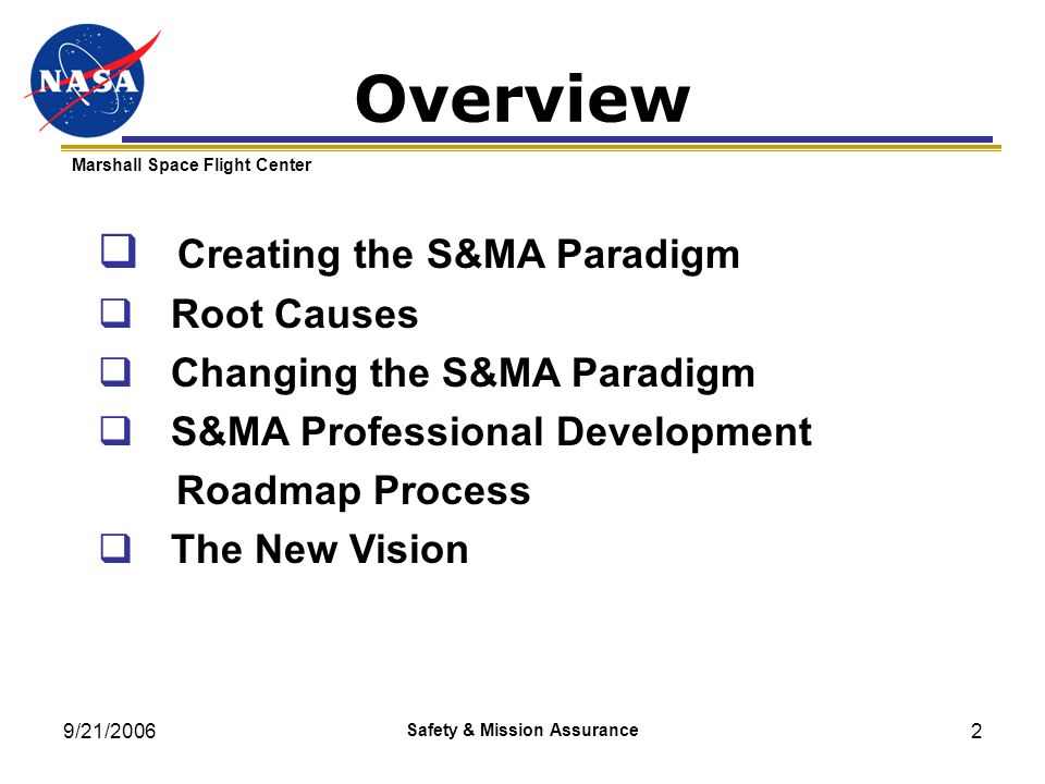 9/21/2006 Safety & Mission Assurance 2 Marshall Space Flight Center Creating the S&MA Paradigm Root Causes Changing the S&MA Paradigm S&MA Professiona