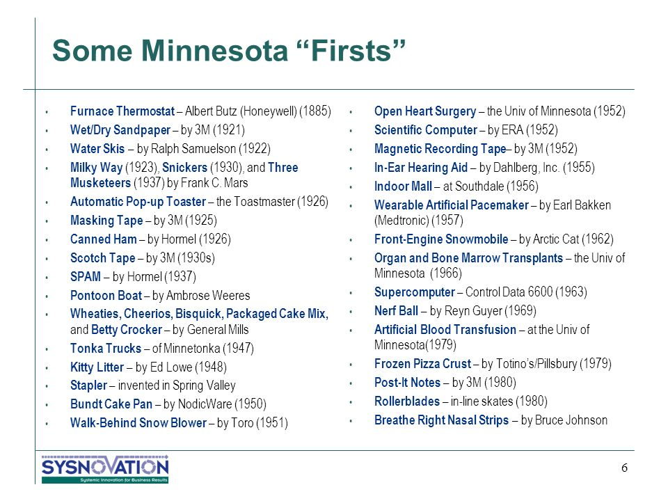 Some Minnesota Firsts Furnace Thermostat – Albert Butz (Honeywell) (1885) Wet/Dry Sandpaper – by 3M (1921) Water Skis – by Ralph Samuelson (1922) Milky Way (1923), Snickers (1930), and Three Musketeers (1937) by Frank C.