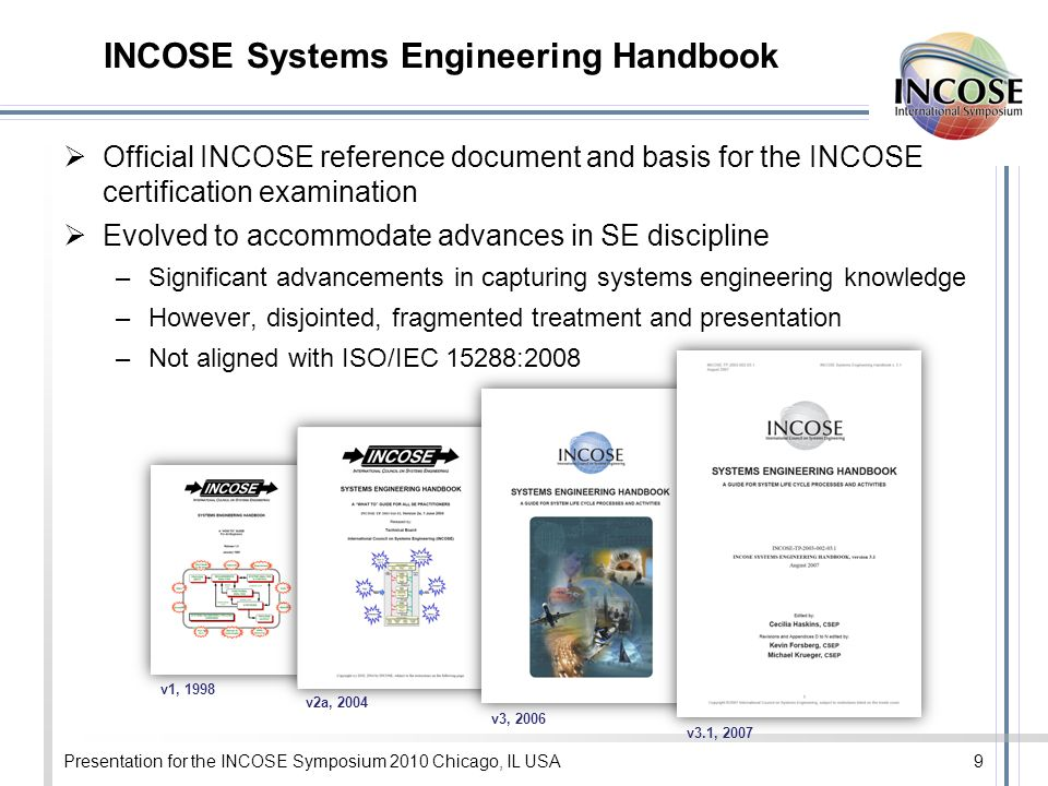 INCOSE Systems Engineering Handbook Official INCOSE reference document and basis for the INCOSE certification examination Evolved to accommodate advances in SE discipline –Significant advancements in capturing systems engineering knowledge –However, disjointed, fragmented treatment and presentation –Not aligned with ISO/IEC 15288:2008 Presentation for the INCOSE Symposium 2010 Chicago, IL USA9 v1, 1998 v2a, 2004 v3, 2006 v3.1, 2007