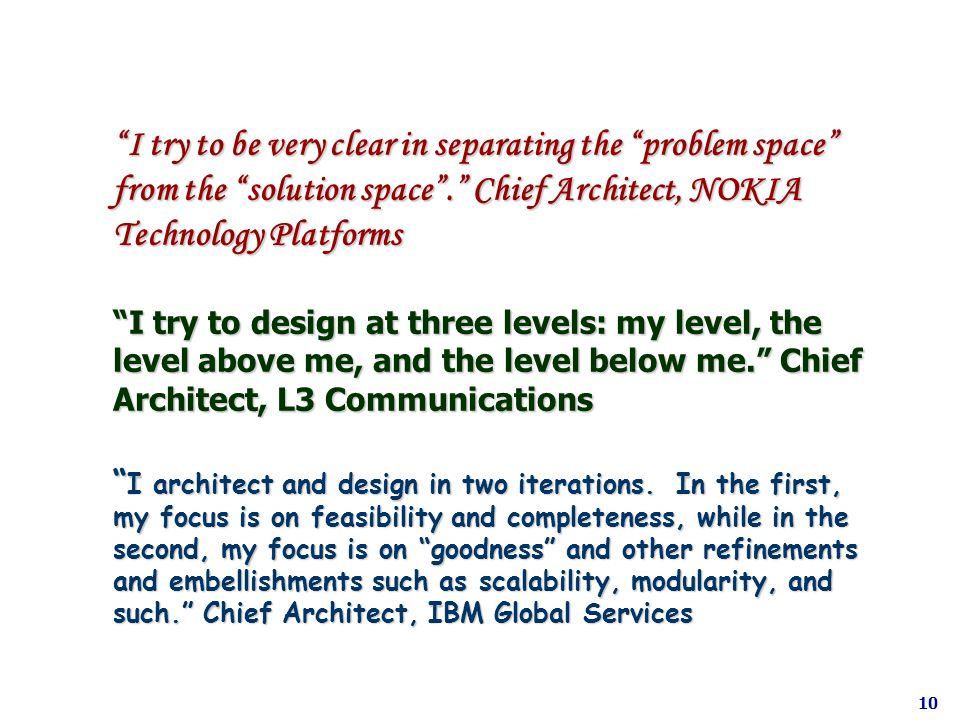 I try to be very clear in separating the problem space from the solution space. Chief Architect, NOKIA Technology Platforms I try to design at three l