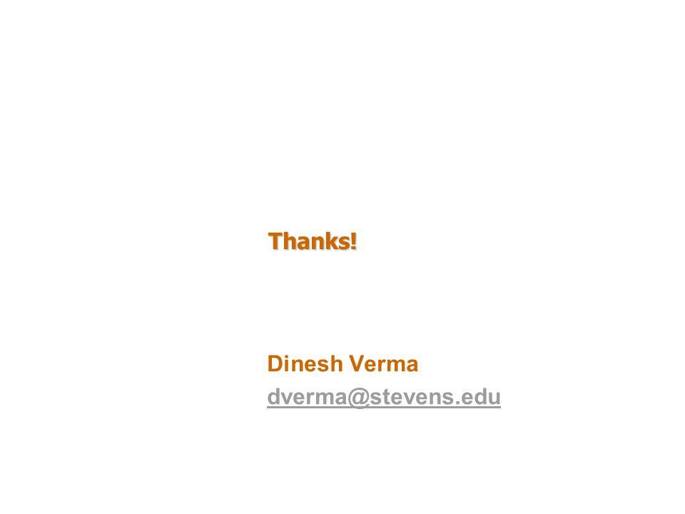 Thanks! Dinesh Verma dverma@stevens.edu